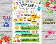 Emoji Invitations/Emoji Birthday/Emoji Party/Emoji Invte/Emoji Card/Emoji Printable/Emoji Invited/Emoji Birthday Invitation/NR 153