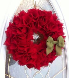 Burlap Christmas Wreath for Front Door by WeHaveWreaths on Etsy, $45.00