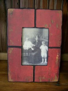 Red distressed wood frame