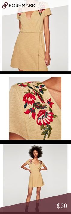 Tan Zara embroidered dress Beautiful floral embroidery on a tan A-line, wrap dress. BRAND NEW WITH TAG!! Never worn, my bust is just too small for it. Could fit small or medium Zara Dresses Mini