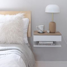 Floating Bedside Table Our signature product, the Urbansize floating bedside table attaches to the wall to maximise space use in small bedrooms. A floating bedside table is the perfect answer when you Ikea Bedroom, Bedroom Decor, Master Bedroom, Bedroom Storage, Bed Ikea, Bedroom Table, Bedroom Sets, Master Suite, Under Bed Drawers