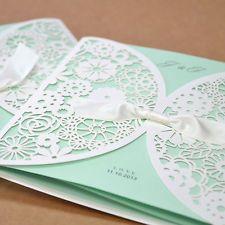 Laser Cut Satin Ribbon Wedding Invitation Card+Envelope+Seal BH2065 Tiffany Blue