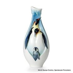 Made by Franz Collection. 810524019927 Part: The Playful Penguins mid size vase is a 2012 introduction from Franz Collection. The mid size vase measures x x Porcelain Dolls Value, Porcelain Dolls For Sale, Porcelain Jewelry, Porcelain Vase, Fine Porcelain, Penguin Art, Penguin Parade, Penguin Tattoo, Vases Decor