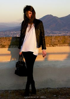 Simple. want a leather jacket and white blose like this!