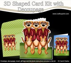 3D Meerkats Shaped Card with decoupage