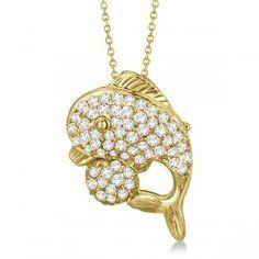 Pave Diamond Dolphin Pendant Necklace 14K Yellow Gold (0.70ct) - Allurez.com