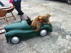 Feeling Pooped!! This wonderful Antique teddy bear in his Vintage car - spotted at Swinderby Antique fair Lincoln