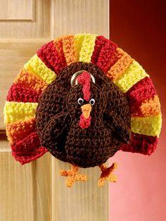Crochet - Holiday & Seasonal Patterns - Thanksgiving Patterns - Turkey Door Hanger
