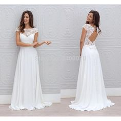 Find More Wedding Dresses Information about 2017 Beach Wedding Dresses Scoop Neck Cap Sleeves Appliques Lace Chiffon Floor Length Long Backless Wedding Gowns Sweep Train,High Quality train wedding gown,China trains for christmas trees Suppliers, Cheap gown photos from CDDRESSES Store on Aliexpress.com