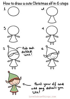 How to draw a cute Christmas elf in 6 steps | Love To Draw Things #elf #festiveart #howtodraw #learntodraw #cuteart #festivecrafts #papercrafts
