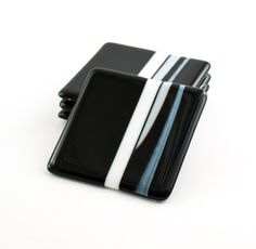 Fused Glass Coasters Black and White Modern Home by Nostalgianmore