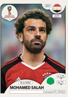 Panini Stickers Panini Football Sticker Albums FIFA World Cup Russia 2018 sticker Mohamed Salah - Egypt, FIFA World Cup Russia 2018 2018 ref. Soccer World, World Football, Play Soccer, World Cup 2018 Teams, Fifa World Cup, Salah Liverpool, Liverpool Fc, Soccer Cards, Football Cards