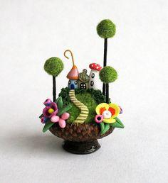 Miniature Fairy Lantern with Toadstool Mushrooms by ArtisticSpirit