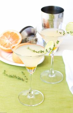 Honey Grapefruit Martini recipe is a burst of late-summer sunshine in a glass. Grapefruit and lime juices, honey, a touch of thyme brighten this cocktail.