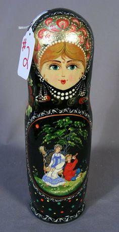 Hand Painted Russian Black Laquer Figural Box Matryoshka Doll, Kokeshi Dolls, Boxing Live, Russian Art, Bottle Holders, Folk Art, Hand Painted, Beige, My Love
