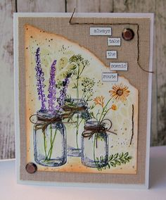cards made using tim holtz mixed media dies Tim Holtz, Love Cards, Diy Cards, Mason Jar Cards, Flowers In Jars, Flower Jars, Stampers Anonymous, Card Making Inspiration, Watercolor Cards