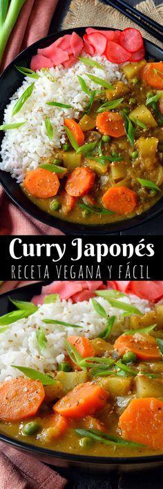 El curry japonés vegano es un plato espeso parecido a un guiso de verduras troceadas con un punto dulce y ligero. Es increíblemente fácil de hacer y enormemente satisfactorio, sobre todo en una tarde fría de otoño o invierno.