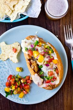 Chicken Cheesesteaks with Queso and Pico de Gallo