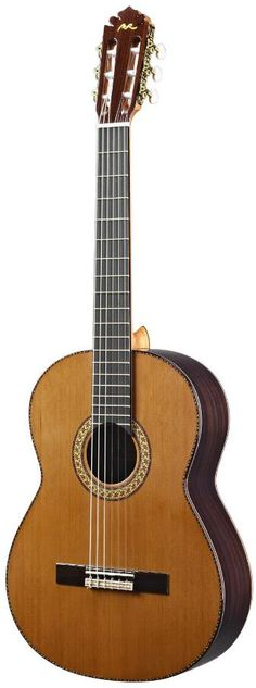 Manuel Rodriguez FC. This model is built with solid wood and glossy finish with your choice of Cedar or Spruce top. Manuel Rodriguez comes from a family with a strong tradition of making classical guitars in Southern Spain. The starting price for this model is $1,700 and the price goes up depending on your choice of materials etc.