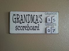 Grandmas Scoreboard with Grands and Greats tally tags grandparent, mother, father, gift pregnancy reveal by IfOurWallsCouldTalk on Etsy Homemade Christmas Gifts, Christmas Gifts For Her, Homemade Gifts, Craft Gifts, Cute Gifts, Holiday Gifts, Christmas Crafts, Holiday Ideas, Christmas Ideas
