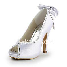Women's Satin Cone Heel Peep Toe Platform Sandals With Bowknot Rhinestone (047015219)