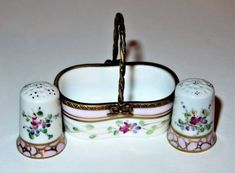 LIMOGES-BOX-DUBARRY-FLORAL-BASKET-amp-TWO-THIMBLES-FLOWERS-ROSES-SEWING