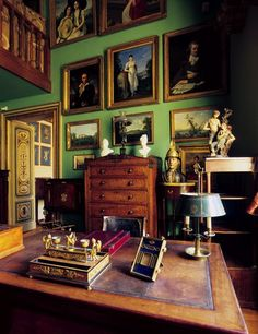 """""""Once home to the man who wrote An Illustrated History of Interior Decoration, Museo Mario Praz in Rome is a paradise of Empire furniture."""" Photo: Giovanni Rinaldi, Courtesy of Museo Mario Praz Palazzo, Beautiful Interiors, Colorful Interiors, English Country Manor, Empire Furniture, Regency Furniture, Home Decoracion, Green Rooms, Green Walls"""