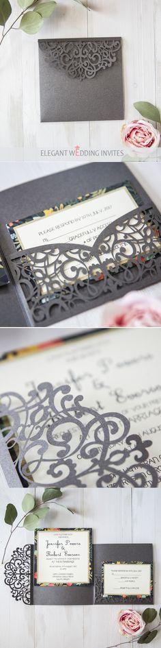 latest dark grey floral laser cut pocket wedding invitations
