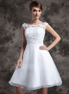 Wedding Dresses - $129.99 - A-Line/Princess Scoop Neck Knee-Length Organza Lace Wedding Dress (002015023) http://jjshouse.com/A-Line-Princess-Scoop-Neck-Knee-Length-Organza-Lace-Wedding-Dress-002015023-g15023