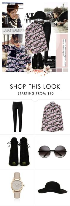 """""""Kim Woobin"""" by ditchdales ❤ liked on Polyvore featuring Paige Denim, Givenchy, Tom Ford, Burberry, Topshop, Kate Spade, patterns, floral, flowery and KimWooBin"""