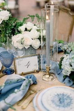 A Dreamy Wedding at Rancho Las Lomas Straight out of a Fairytale is part of Blue themed wedding This adorable couple waited a full two years after they got engaged to officially tie the knot and bo - Blue Wedding Decorations, Banquet Decorations, Wedding Table Centerpieces, Flower Centerpieces, Centerpiece Ideas, Wedding Cakes, Round Table Decor Wedding, Summer Table Decorations, Vintage Centerpieces
