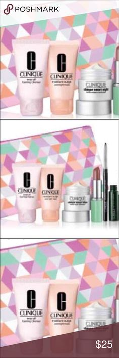 Clinique 6 Piece Set with bag Clinique 6 Piece Set with bag. Brand new, items still in plastic bag. Nice Beauty items for Clinique Lovers. Comes with everything seen in photos. $80 Retail Value. NWOT All reasonably offers are considered Clinique Makeup