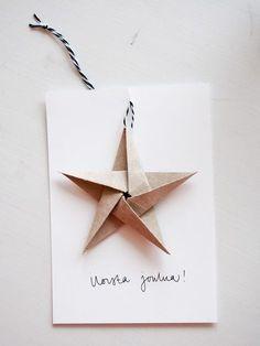 Näiden joulukorttien ideana on myöhempikin käyttö: kortissa oleva tähti toimii nimittäin myös vaikka ...