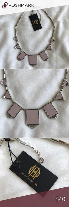 """House of Harlow Station Pyramid Necklace Brand new with tags. Nude accents with silver plates. Multi linked strand with lobster claw clasp. Measures approximately 17"""" when laid flat with 2"""" extender. House of Harlow 1960 Jewelry Necklaces"""