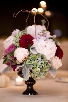 Classic Formal Romantic Green Ivory Purple Silver White Centerpiece Dahlia Fall Hydrangea Peony Rose Winter Wedding Flowers Photos & Pictures - WeddingWire.com