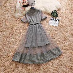 Mock Two-Piece Grid Summer Dress Girly Outfits, Cute Casual Outfits, Pretty Outfits, Pretty Dresses, Beautiful Dresses, Dress Outfits, Cute Fashion, Look Fashion, Korean Fashion