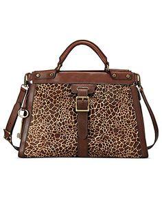 Fossil Handbag, Vintage Revival Leather Hair Calf Satchel - Handbags & Accessories - Macy's