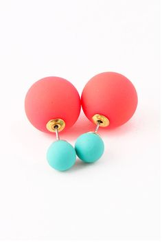 """<em><a href=""""http://www.myjewelcandy.com/collections/earrings/products/coral-turquoise-double-sided-earrings"""" target=""""new"""">MY JEWEL CANDY</a>, $25 </em> -Cosmopolitan.com"""