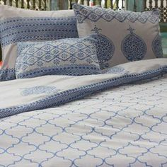 """Block-printed cotton duvet with two matching shams.  Product: Queen duvet cover and two pillow shamsConstruction Material: CottonColor: Blue and grayFeatures:  Inserts not includedBack zipper closure  Dimensions: Duvet cover: 90"""" x 88""""Sham: 20"""" x 26"""" each Note: Small accent pillow not included"""