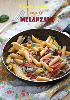 Pasta cremosa con le melanzane e pomodoro , un primo piatto gustoso e molto da semplice da preparare. Scopri la ricetta :
