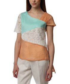 Aqua & Apricot Color Block Linen Tee - Plus Too by JSong #zulily #zulilyfinds