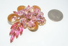 Vintage Juliana D&E Pink rhinestone & dangling ab crystal Beads BROOCH pin