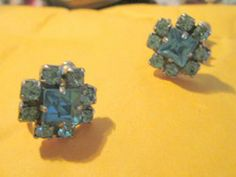 New Listing Started vintage screw in deep blue floral stone earrings in very good condition £2.25
