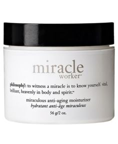 philosophy miracle worker miraculous anti-aging moisturizer, 2 oz (604079048682) philosophy's miracle worker miraculous anti-aging moisturizer helps firm and deeply hydrate the skin, while treating the signs of aging. this luxurious miracle cream features a unique complex that replenishes skin's natural moisture barrier, leaving it feeling replenished, satiny smooth and comfortable. formulated with advanced peptide technology. philosophy's miracle moisturizer helps stimulate collagen for ...