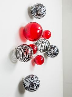 Worldly Goods Set of 9 Wall Spheres, Red & Black at MYHABIT #Red #Decor $109 Gorgeous!