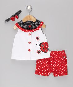 Red & White Polka Dot Ladybug Top Set by Duck Duck Goose Toddler Dress, Toddler Outfits, Baby Dress, Kids Outfits, Little Dresses, Little Girl Dresses, Sewing For Kids, Baby Sewing, Baby Kind