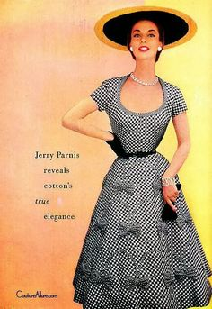 Couture Allure Vintage Fashion: Incredible Use of Gingham - 1954 50 Fashion, Fashion History, Timeless Fashion, Retro Fashion, Fashion Looks, Fashion Outfits, Fashion Design, Fashion Ideas, Vintage Outfits