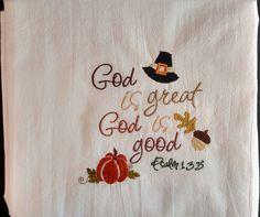 Thanksgiving tea towel, dish towel, flour sack towel, kitchen towel, machine…