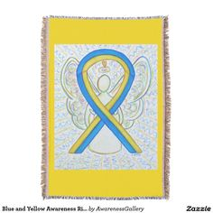 Down's Syndrome Yellow and Blue Awareness Ribbon Guardian Angel Blanket