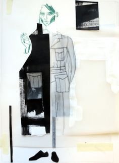Fashion Sketchbook - fashion illustration; fashion collage layout; fashion portfolio // Constance Blackaller